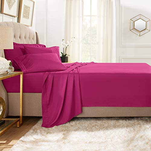 Clara Clark Premier 1800 Collection Bed Sheet Set with Extra Pillowcases Wrinkle, Fade & Stain Resistant, Flex-Top King, Magenta