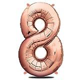 envami Globos de Cumpleãnos 8 Oro Rosas - 101 CM Globo 8 Años - Globo Numero 8 - Decoracion 8 Cumpleaños Niñas - Globos Numeros Gigantes para Fiestas - Vuelan con Helio