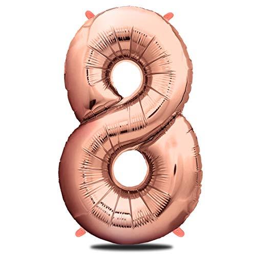 envami Palloncini Compleanno 8 Anni Oro Rosa 101 CM I Palloncino Numero 8 I Numeri Gonfiabili Compleanno I Decorazioni Compleanno I Palloncino 8 Anni Compleanno I Vola con l'Elio