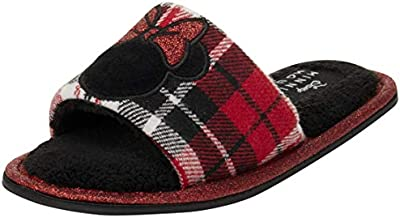 Disney Girls' Slippers - Minnie Mouse Plush Fuzzy Slip-On House Shoes (Little Kid), Plaid Minnie, Size 11