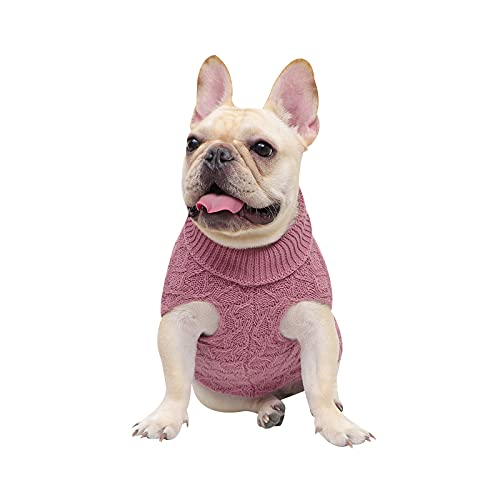 Lawkul Small Dog Sweaters Knitted Pet Cat Sweater Warm Dog Pullover Shirt Dog Winter Clothes Kitten Pink Color Puppy Sweater L Size Chilly Dog Sweater