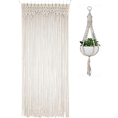 """Macrame Curtain with BONUS Macrame Plant Hanger – Beautifully Handwoven Large Curtain Ideal for Windows, Closets, Doorway Room Divider, Wall Hanging Backdrop – 38""""W x 80""""L - Bohemian Chic Home Décor"""
