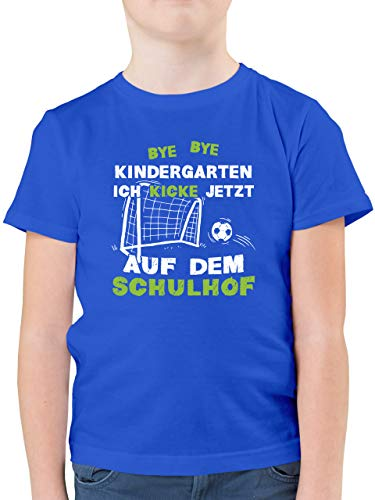 Einschulung und Schulanfang - Bye Bye Kindergarten Einschulung Fußball - 128 (7/8 Jahre) - Royalblau - Bye, Bye Kindergarten fußball - F130K - Kinder Tshirts und T-Shirt für Jungen