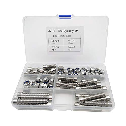 UEVIN Schrauben und Muttern Kit M8 Edelstahl Innensechskantschrauben (Bolzen) und M8 Kontermuttern Sortiment Sets (60 Stück)