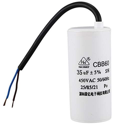 Fltaheroo Condensador de funcionamiento motor de CA pelicula de polipropileno 35uF 450V CBB60 Blanco