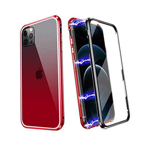 ZHIKE iPhone 7/8/SE 2020 Case, Magnetic Metal Frame Front and Back Tempered Glass Full Screen Coverage One-Piece Flip Gradient Color Cover Anti-Slip Design [Support Wireless Charging] (Red-Black)