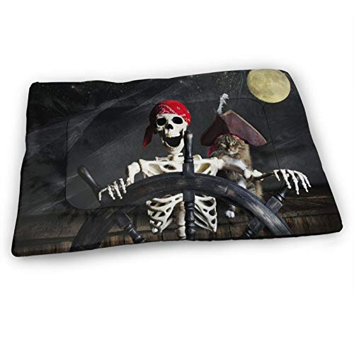 """Custom Dog Bed Mat,Captain Cat Pirate Ship Skull Skeleton Controlling The Helm,Anti-Slip Bottom Washable Soft Crate Pad Mat for Pets Sleeping 31""""x21"""""""