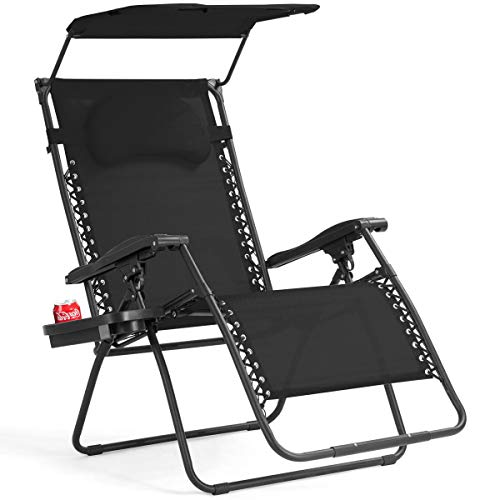 Goplus Folding Zero Gravity Lounge Chair Wide Recliner for Outdoor Beach Patio Pool w/Shade Canopy (Black Zero Gravity Chair)