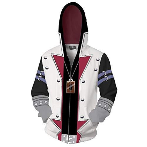 North Adult Seto Kaiba Cosplay 3D Zipper Hoodie Sweater Sweatshirt Pullover Duel Monsters Costume (White, Medium)