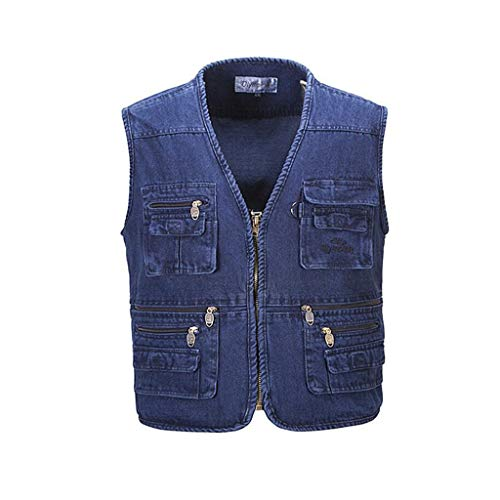 QARYYQ heren denim vest herfst en winter vest casual vissen plus mest XL multi-pocket herenkleding reflecterende kleding