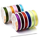 OBSEDE 1mm Elastic Cord Beading Threads Colorful Stretch String Fibre Round Crafting Cords for Jewelry Making,...