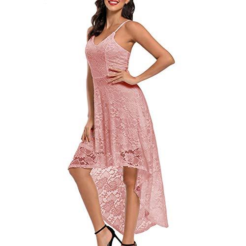 Vestido Mujer Retro Años 50 Cuello Redondo, Vintage Cóctel Rockabilly Clásico Novia Estilo Noche de Cintura Alta de Encaje de Moda con Cinturón de Princesa Vestido de Fiesta Graduación(A Rosa,S)
