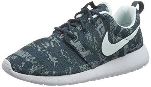 Nike Women's Roshe One Print Running Shoes, Blue Blau 430 Midnight Teal Fbrglss Pr Pltnm, 3 UK