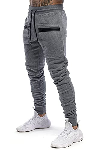 Atergens Herren Jogginghose Sporthose Baumwolle Sweat Pants Fit Freizeithose Joggers Streetwear mit Reissverschluss Taschen