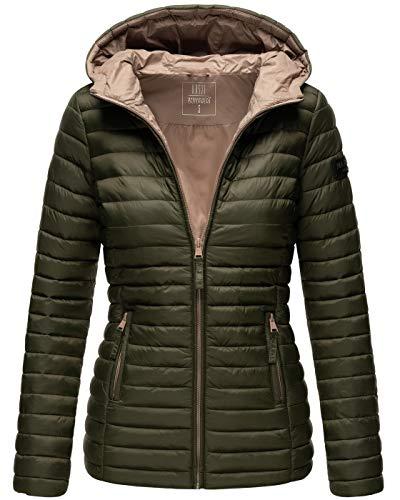 MARIKOO Damen Jacke Steppjacke Übergangsjacke gesteppt Frühjahr Stepp B857 [B857-Asr-Olive-Gr.S]