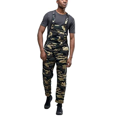 SUCES Latzhosen Herren Camouflage Latzhose Arbeitshose Jumpsuit Männer Freizeit Multifunktion Hose Overall Lange Cargohose Streetwear Freizeithosen