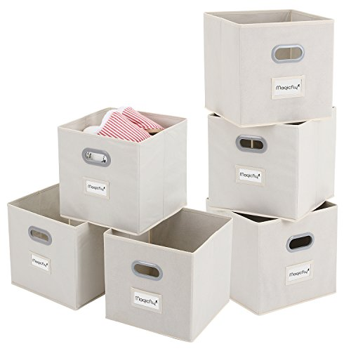 Magicfly Storage Bins with Label Holders, Set of 6 Foldable Storage Cubes 12 X 12 inch with Handle, Fabric Storage Bins for Closet, Books, Bedroom, Beige