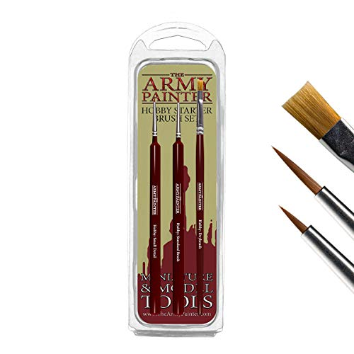 The Army Painter – Hobby Starter Pinsel Set | 3 Pinsel | Synthetik Toray | Basecoat, Detail Brush, Drybrush | Beginner Zubehör | für Rollenspiel-, Wargames- und Tabletop Modell-Malerei
