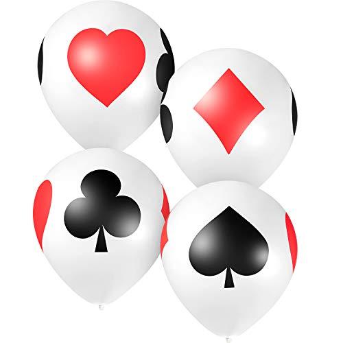 12 Inch Casino Card Night Latex Balloons, 50 Pack Poker Balloons Casino Party Balloons, Casino Night Poker Birthday Decorations
