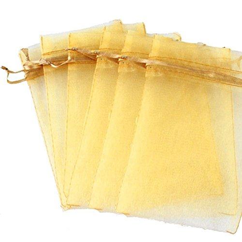 ikulilky 100unidades Organza Cordón Bolsa joyas Bag, fiestas, bodas regalo bolsillos Candy bolsillo Favor Malla Sweets Bag 10cm x 15cm Oro