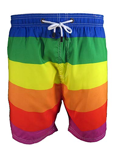Licensed-Mart Men's Pride Swim Trunks, Rainbow No Star, X-Large (38'-40')