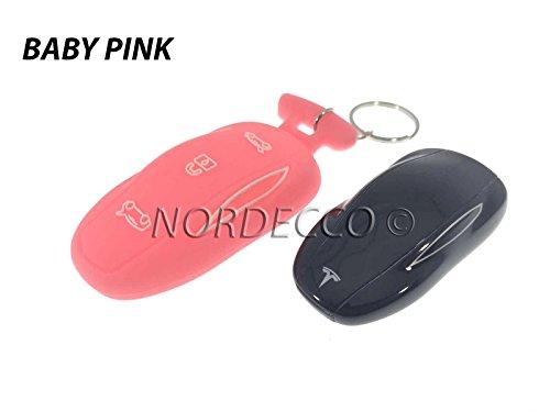 Neuf protection Smart intelligent 3 boutons en silicone Coque avec porte-clés pour Tesla Model S Rose clair