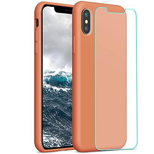 YATWIN Compatibile con Cover iPhone X 5,8'', Compatibile con Cover iPhone XS Silicone Liquido + Vetro Temperato, Protezione Completa del Corpo con Fodera in Microfibra, Giallo Papaya