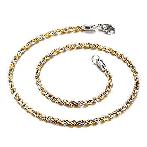 TIGOSM Collar de cadena de eslabones anchos de 4 mm Cadena trenzada Oro + astilla Collares para hombres Cadena larga de acero inoxidable