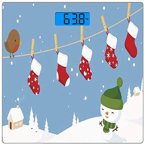 Escala digital de peso corporal de precisión Square Decoraciones de navidad Báscula de baño de vidrio templado ultra delgado Mediciones de peso precisas,Pajarito y calcetines colgados en el tendedero