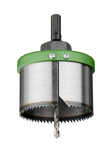 kwb Lochkreissäge Wolfram-Stahl, Säge-Kranz mit Aufnahme und HSS Stahl Zentrier-Bohrer – Durchmesser-Größe 68 mm
