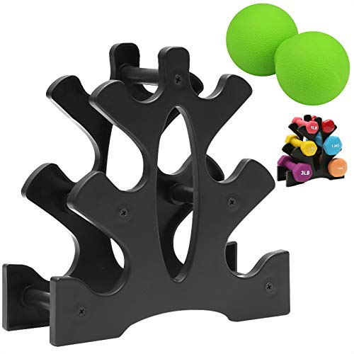 MOSNOW 3 -Tier Dumbbell Rack,with a Peanut Massage Ball,Dumbbell Tree Rack,Compact Dumbbell Rack for Lightweight Dumbbell,Exercise Accessories for Home,Office,Gym (Rack Only)