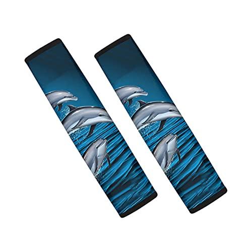 HUIACONG Dolphin - Fundas para cinturón de seguridad para coches, ajuste universal, almohadillas para cinturón de seguridad de océano, almohadillas suaves para correa de hombro para adultos y niños