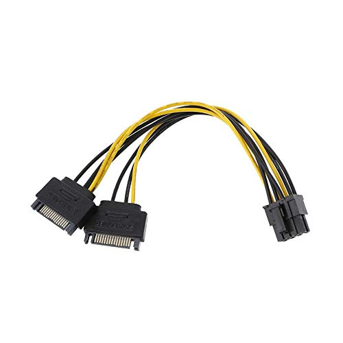 axGear Dual SATA to PCI-E Power Cable 15Pin SATA to 8 pin / 6 pin Video Card Power Wire