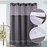 Ecoehoe Duschvorhang, 180 cm B x 200 cm H ohne Haken, mit Polyester-Magneteinsatz, silbergraue Oberfläche, durchsichtig, mit Netzfenster, wasserdicht