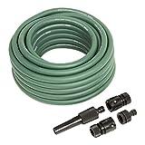 STIER Gartenschlauch extra robust, 12,5 mm(1/2 Zoll), grün, 15m, flexible Anwendung, Schlauch aus PVC-Hybrid Material, 20 bar Berstdruck, formstabil, UV-beständig