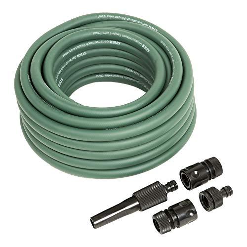 STIER Gartenschlauch extra robust, 12,5 mm(1/2 Zoll), grün, 20m, flexible Anwendung, Schlauch aus PVC-Hybrid Material, 20 bar Berstdruck, formstabil, UV-beständig