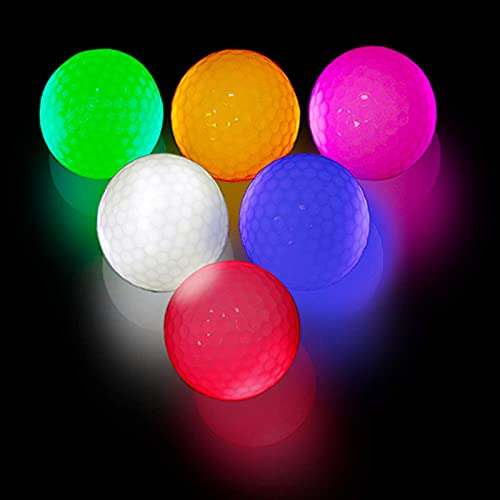 MOR GOLF Glow Golf Balls, LED Constant Shining Golf Balls Glow in The Dark Golf Balls for Sport Multi Colors for Your Choice, Pack of 6, Red, Orange, White, Green, Pink, Blue and 6pcs Golf Tees