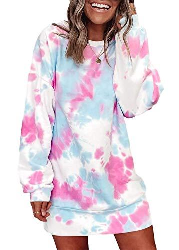 Byvheh Women Hoodies Dress Tie-Dye Printed Long Sleeve Hooded Tunic Oversized Sweatshirt Pockets Pullover Jumper Pink