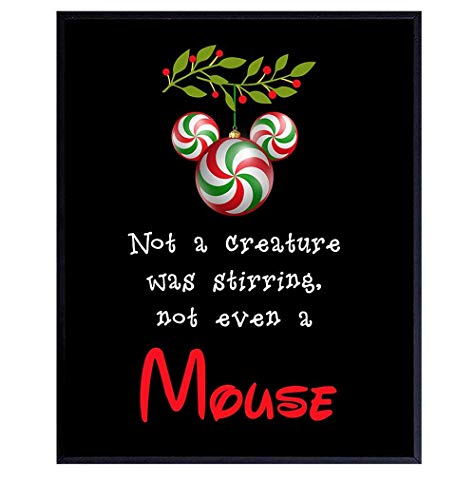 Disney Mickey Mouse Holiday Decorations - Cute Christmas Wall Art for Disney World Fans - Walt Disney Home Decor Poster - Unique Accessories Gift for Women, Men, Kids - 8x10 Poster Picture