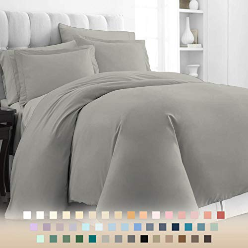 Pizuna 400 Thread Count Cotton Bed Set Duvet Cover Single Grey, 100% Long Staple Cotton Grey Quilt Covers Single, Luxurious Soft Sateen Grey Bedding Single Set (100% Cotton Silver Quilt Cover Single)