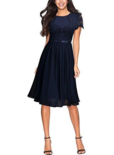 MIUSOL Damen Abendkleid Sommer Chiffon festlich Kleid Cocktailkleid Vinatge Kleider Blau XXL