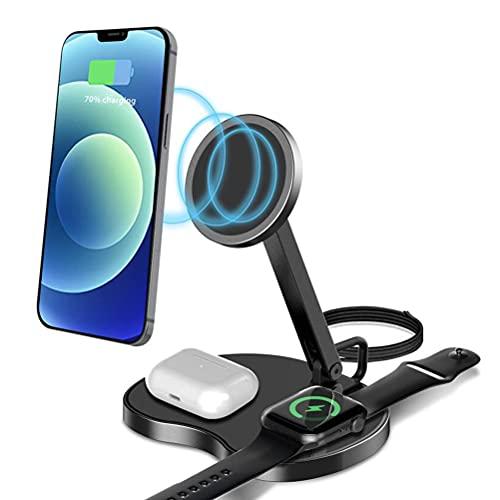 Olaffi 3 En 1 Cargador Inalámbrico, Soporte De Carga Vertical Magnético Rápido De 15W Qi para iPhone 12 12 Pro MAX 11 11 Pro MAX XS XR X 8 Plus