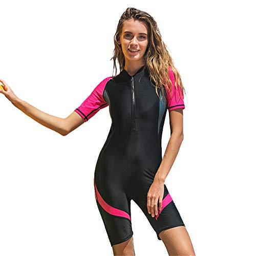 XDXART Einteiliger Badeanzug für Damen und Herren Kurzarm-Badebekleidung für Paare mit kurzen Ärmeln Surfanzug für Sonnenschutz (Rose, M)