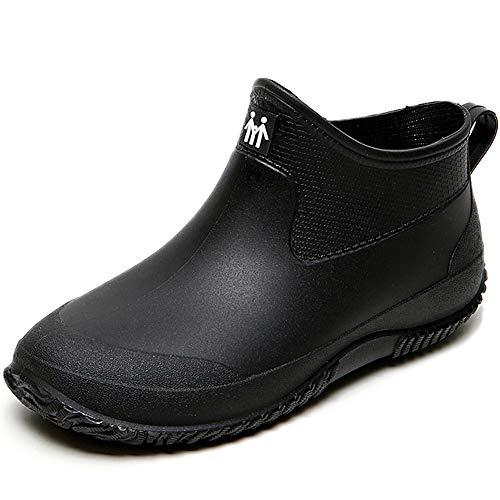 Kurz Gummi Stiefel Regen Schuhe Wasserdicht Gummistiefeletten Damen Regenstiefeletten Neopren Gartenschuhe Arbeitsschuhe Frauen Outdoor Ankle Rubber Rain Boots Schwarz 35