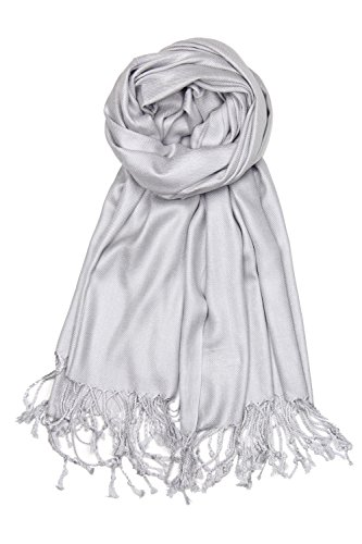 Achillea Large Soft Silky Pashmina Shawl Wrap Scarf in Solid Colors (Silver Grey)
