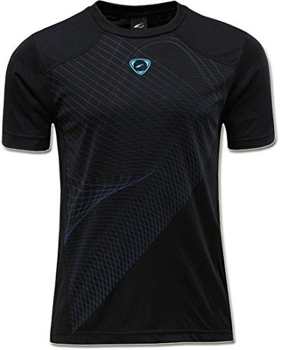 jeansian Hombre Sport Dry Fit Deportiva tee Shirt Tshirt T-Shirt Manga Corta Tenis Golf Bowling Camisetas LSL069 Black S
