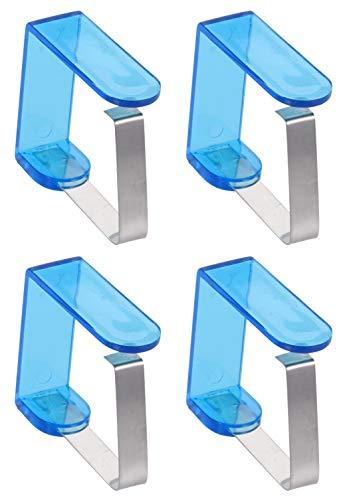MIK Funshopping 4-teiliges Set Tischdeckenklammern Tischtuchhalter aus Edelstahl (Acryl Blau)