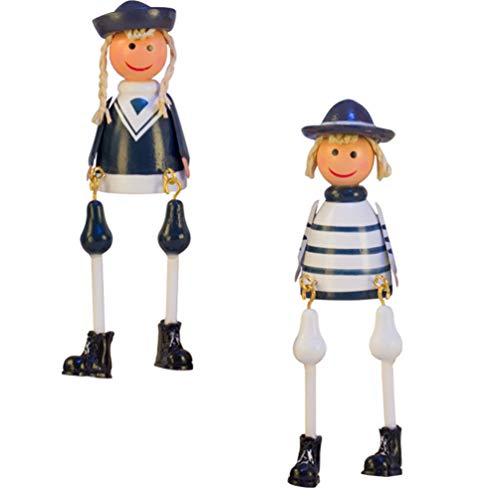 Cabilock - 1 par de figuras náuticas de madera, colgantes para pareja o muñecas, estatua de hada, jardín, planta bonsái, decoración para Navidad, suministros de fiesta de boda