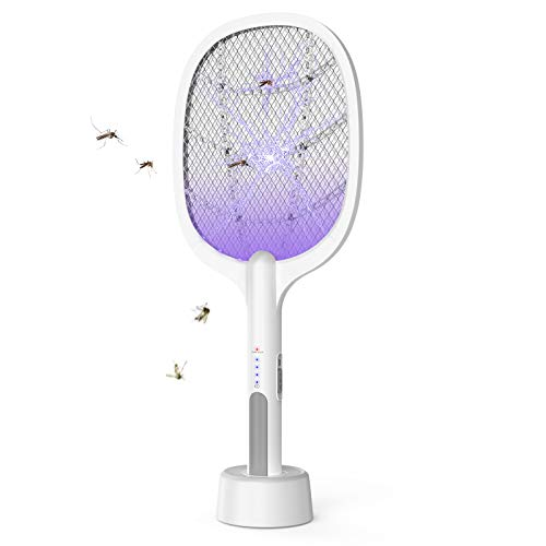 Indoor Electric Bug Zapper Racket,Mosquito Fly Killer Zapper,USB Rechargeable Electric Fly Swatter for Home and Outdoor Powerful Grid 3-Layer Mesh