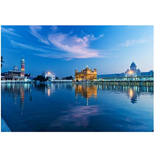 HYFBH Golden Temple of India Canvas Paintings On The Wall Art Prints Modern Landscape Posters and Prints Wall Pictures Home Decor-60x80cm with Frame